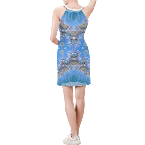 indian harmony-5 Sleeveless V Neck Dress (Model D55)