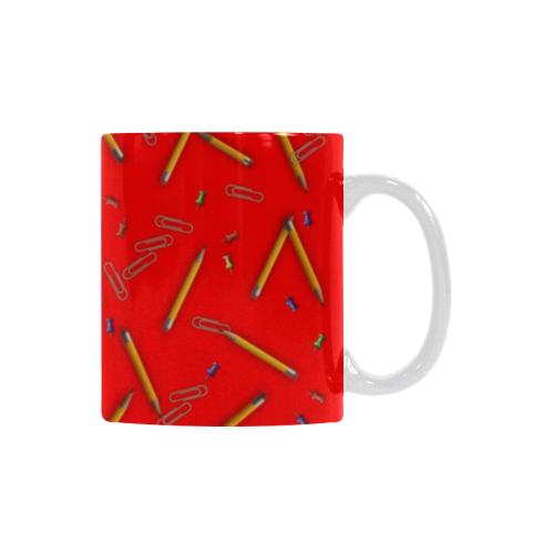 Ceramic Mug Yellow Pencils Red Custom White Mug (11oz)