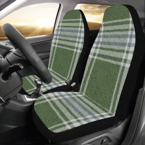 Green Blue Plaid Car Seat Covers (Set of 2)