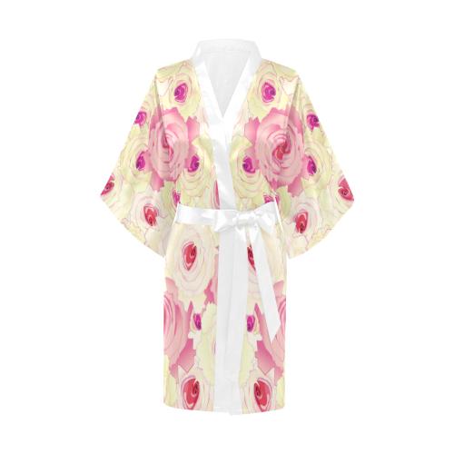 Watercolor Yellow Roses Kimono Robe