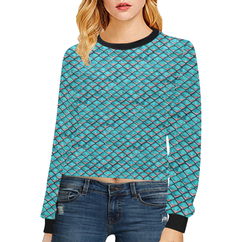 Teal blue and coral pink arapaima mermaid scales Crop Pullover Sweatshirts for Women (Model H20)