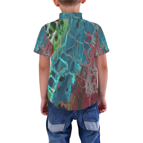Abstract Paint Background Green Boys' All Over Print Short Sleeve Shirt (Model T59)