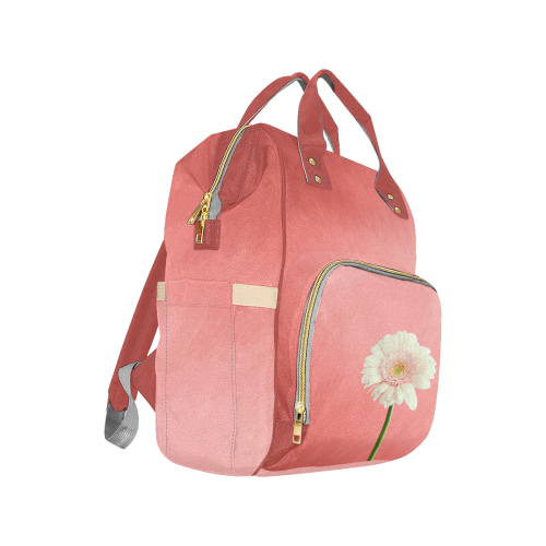 Gerbera Daisy - White Flower on Coral Pink Multi-Function Diaper Backpack (Model 1688)