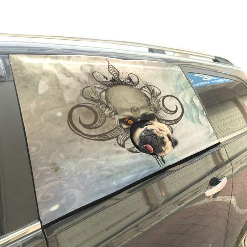 Creepy skull, vintage background Pet Car Window Curtain