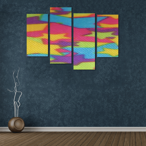 Rainbow Abstract Stars Canvas Wall Art Y (4 pieces)