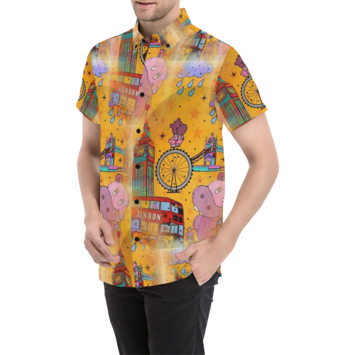 Hippos in London by Nico Bielow Men's All Over Print Short Sleeve Shirt (Model T53)