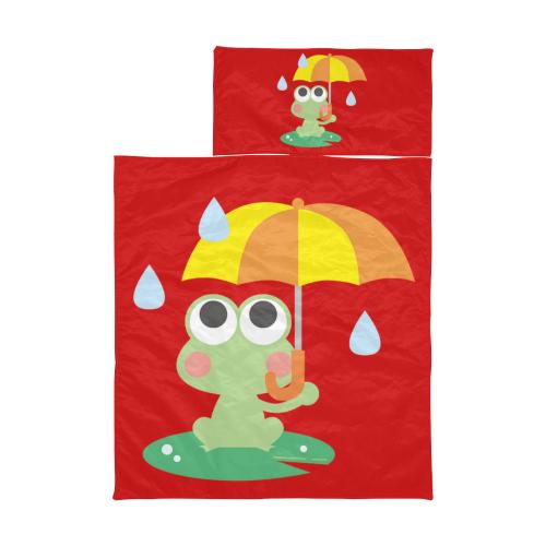 Cute Frog With Umbrella Red Kids' Sleeping Bag