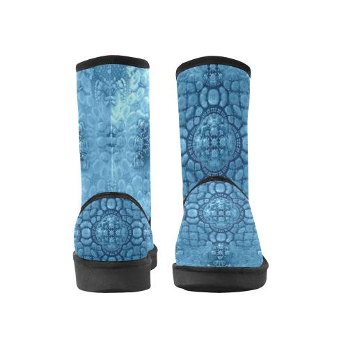 Frozen Fractal Custom High Top Unisex Snow Boots (Model 047)