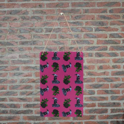 """gothic girl rose pink pattern Metal Tin Sign 8""""x12"""""""