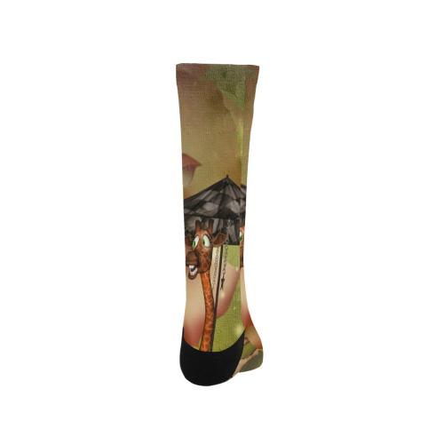 Funny giraffe with umbrella Trouser Socks (For Men)