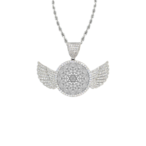 mandala 3D-20 Wings Silver Photo Pendant with Rope Chain
