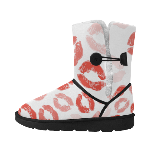 kiss   Design boots  red--white Unisex Single Button Snow Boots (Model 051)