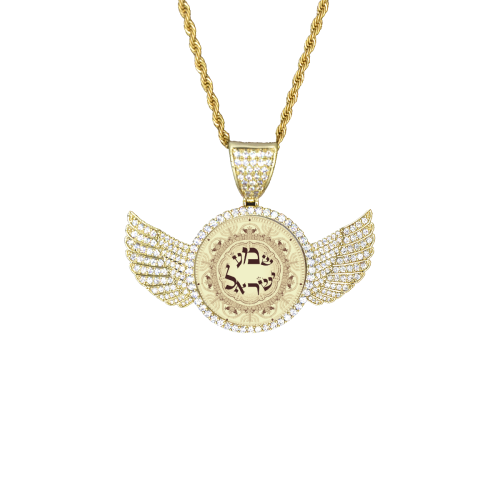 shema Israel2 Wings Gold Photo Pendant with Rope Chain