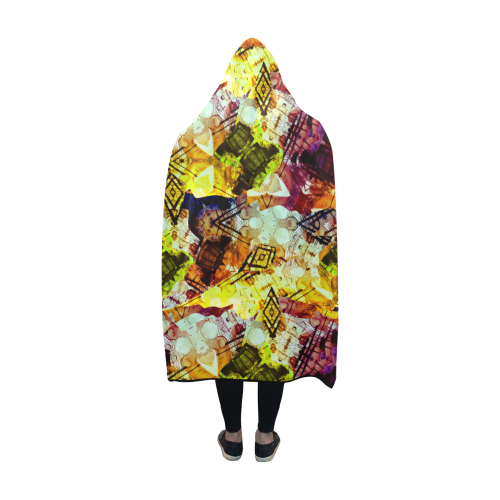 Graffiti Style - Markings on Watercolors Hooded Blanket 60''x50''