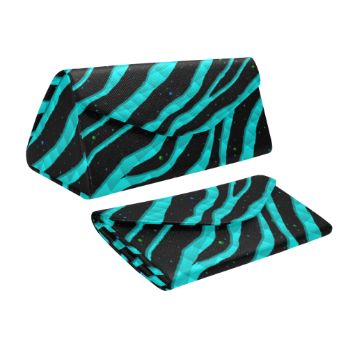 Ripped SpaceTime Stripes - Cyan Custom Foldable Glasses Case