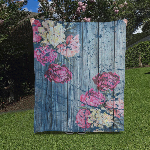 """Shabby chic with painted peonies Quilt 50""""x60"""""""