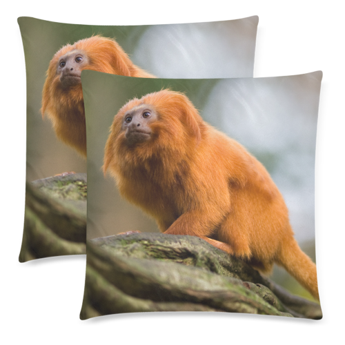 "Golden Lion Tamarin Pillow Custom Zippered Pillow Cases 18""x 18"" (Twin Sides) (Set of 2)"