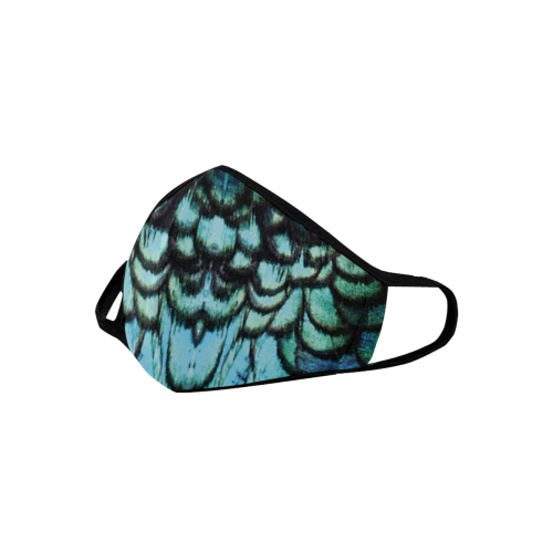 blue feathered peacock animal print design community face mask Mouth Mask (Pack of 10)