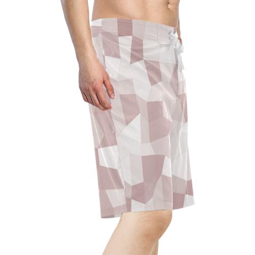 Mauve Beige Mosaic Men's All Over Print Board Shorts (Model L16)