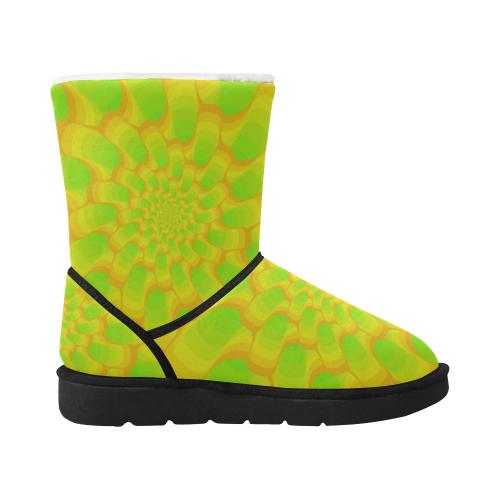 Green yellow spiral net Unisex Single Button Snow Boots (Model 051)