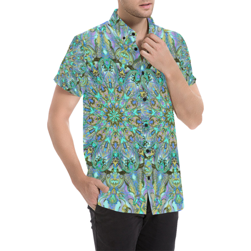 mandala 2 Men's All Over Print Short Sleeve Shirt/Large Size (Model T53)