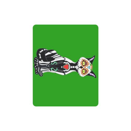 Sugar Skull Cat Green Rectangle Mousepad