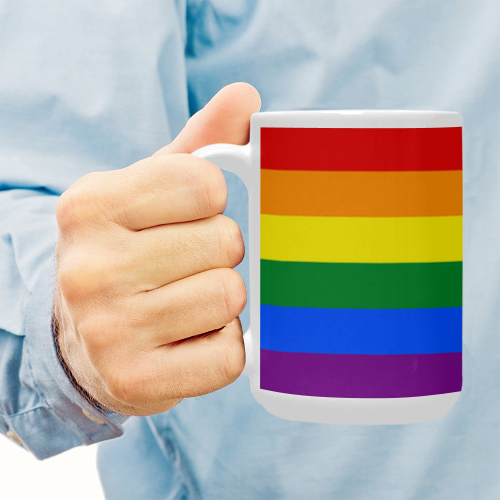 Gay Pride Rainbow Flag Stripes Custom Ceramic Mug (15OZ)