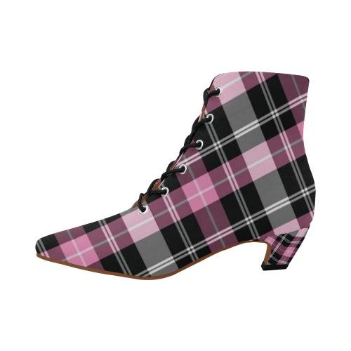 School Girl PInk Women's Pointed Toe Low Heel Booties (Model 052)
