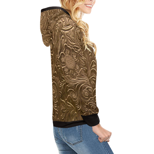 Embossed Gold Flowers High Neck Pullover Hoodie for Women (Model H24)
