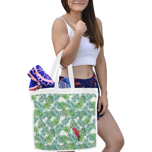 Parrot And Leaves Canvas Tote Bag/Large (Model 1702)