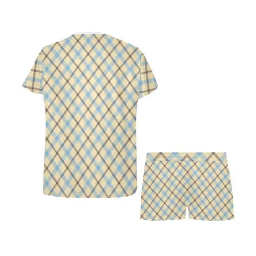 Plaid 2 plain tartan Women's Short Pajama Set (Sets 01)