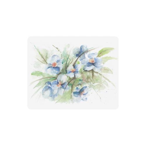 Fantasy Floral Blue Original Watercolor Rectangle Mousepad