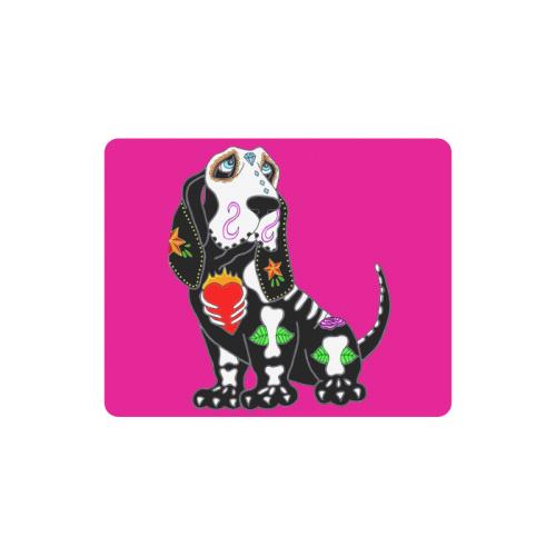 Basset Hound Sugar Skull Pink Rectangle Mousepad