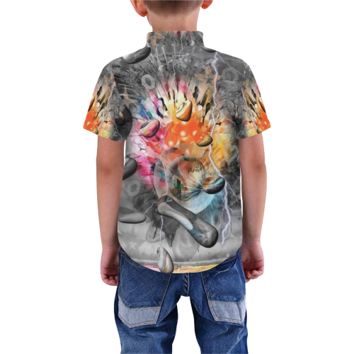 Space of Colors by Nico Bielow Boys' All Over Print Short Sleeve Shirt (Model T59)