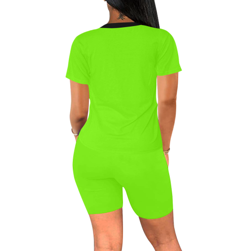 color lawn green Women's Short Yoga Set (Sets 03)