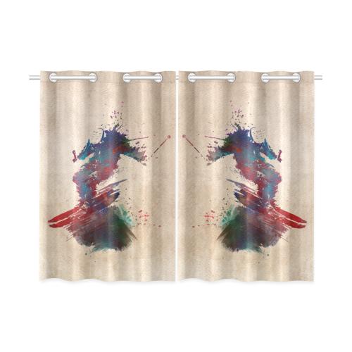 "ski sport art 1 #ski Kitchen Curtain 26"" X 39"" (Two Piece)"