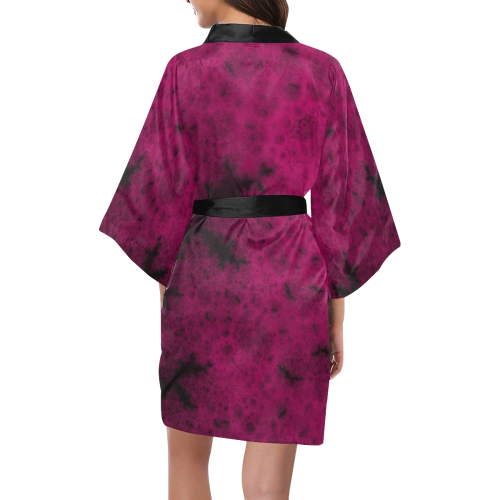 Purple Snowvember Night Fractal Abstract Kimono Robe