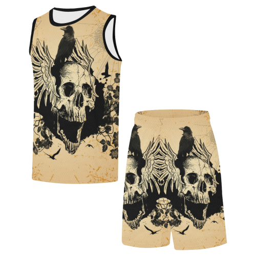 Awesome skull with crow All Over Print Basketball Uniform
