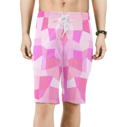 Bright Pink Mosaic Men's All Over Print Board Shorts (Model L16)