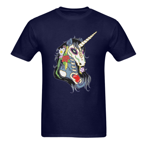 Spring Flower Unicorn Skull Navy Blue Men's Heavy Cotton T-Shirt (One Side Printing)