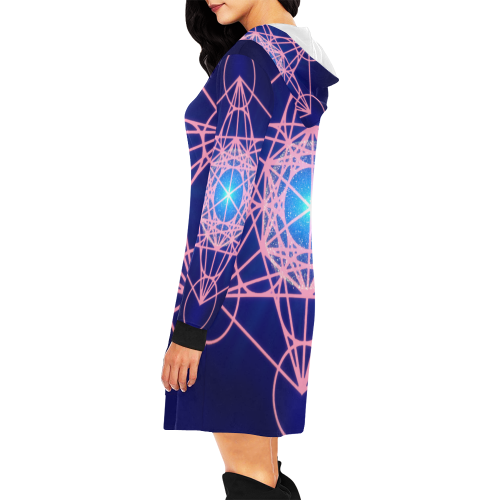 Lady Love Destiny Blue All Over Print Hoodie Mini Dress (Model H27)
