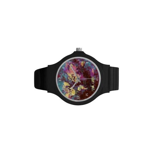 clock world map 4a watch Unisex Round Plastic Watch(Model 302)