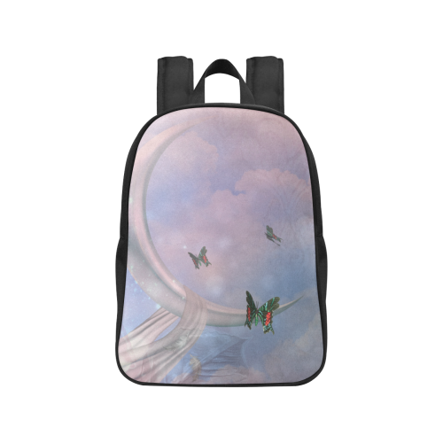 The moon with butterflies Fabric School Backpack (Model 1682) (Medium)