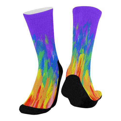 Flames Paint Abstract Purple Mid-Calf Socks (Black Sole)