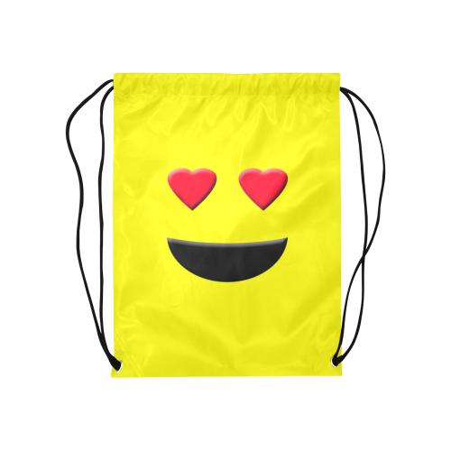 """Emoticon Heart Smiley Medium Drawstring Bag Model 1604 (Twin Sides) 13.8""""(W) * 18.1""""(H)"""
