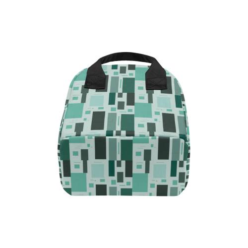 Abstract Green Squares Zipper Lunch Bag (Model 1689)