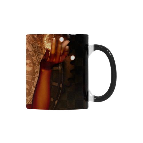 Steampunk lady with mask Custom Morphing Mug (11oz)