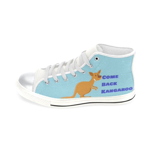 Soft Blue Navy Blue Kangaroo shoe High Top Canvas Shoes for Kid (Model 017)