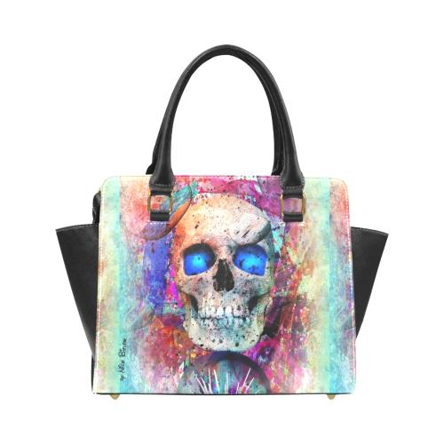 My Skull Popart by Nico Bielow Rivet Shoulder Handbag (Model 1645)