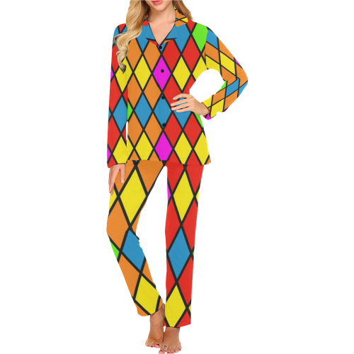 harlequin 1b Women's Long Pajama Set (Sets 02)